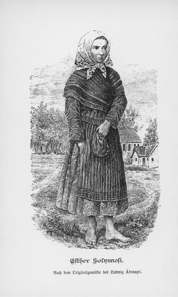 Ábrányi Lajos: Sólymosi Eszter, 1882. Forrás: Ónody Géza Tisza-Esslar in der Vergangenheit und Gegenwart, 1883.