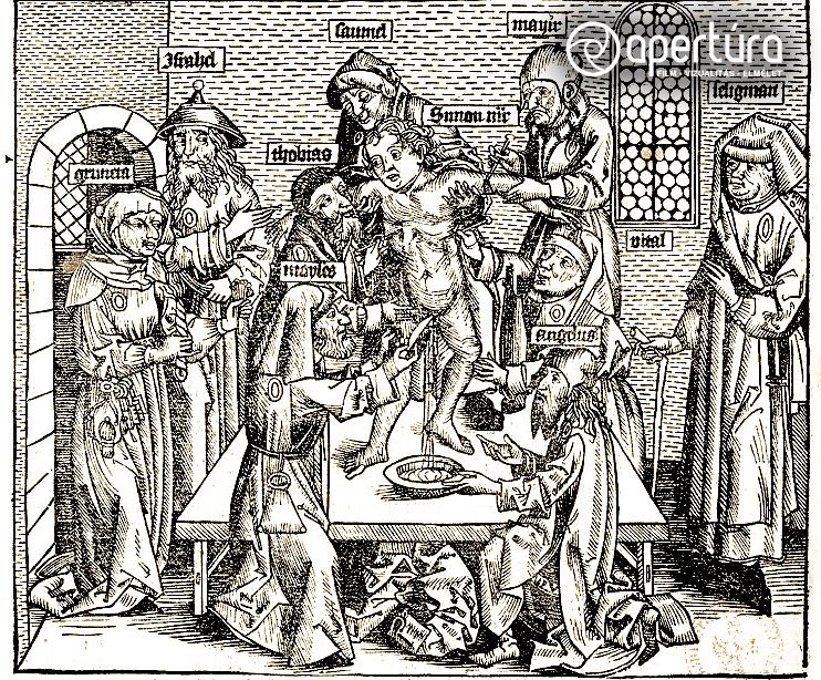 Ismeretlen rajzoló és metsző: Trentói Simon mártírhalála, 1493. Fametszet. Megjelent: Hartmann Schedel: Liber Chronicarum. Nürnberg, 1493. fol. 254v.