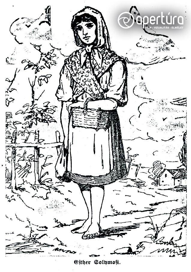Ismeretlen rajzoló: Solymosi Eszter, 1883. Megjelent: Esther Solymosi. Der Prozeß von Tisza-Eszlar. Berlin, 1883.
