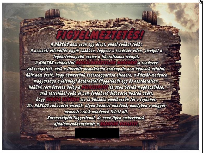 A Magyar Harcos ruhabolt köszöntője