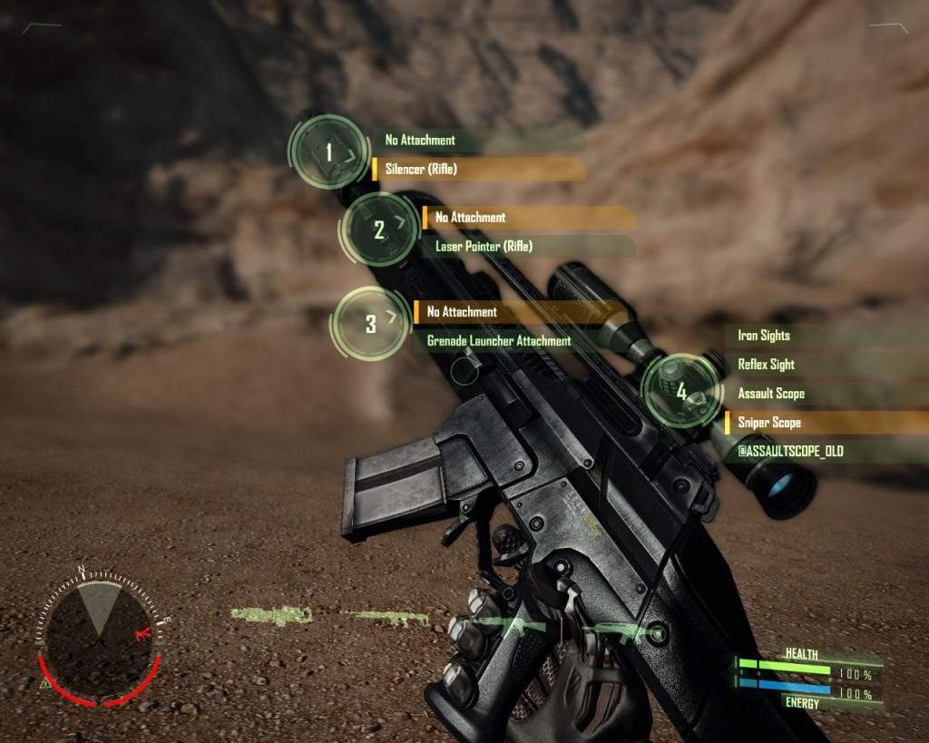 A Crysis sisakja információkkal látja el a játékost.