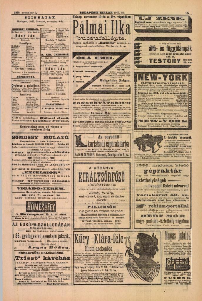 Hirdetési oldal. Budapesti Hírlap, 1895. november 9.