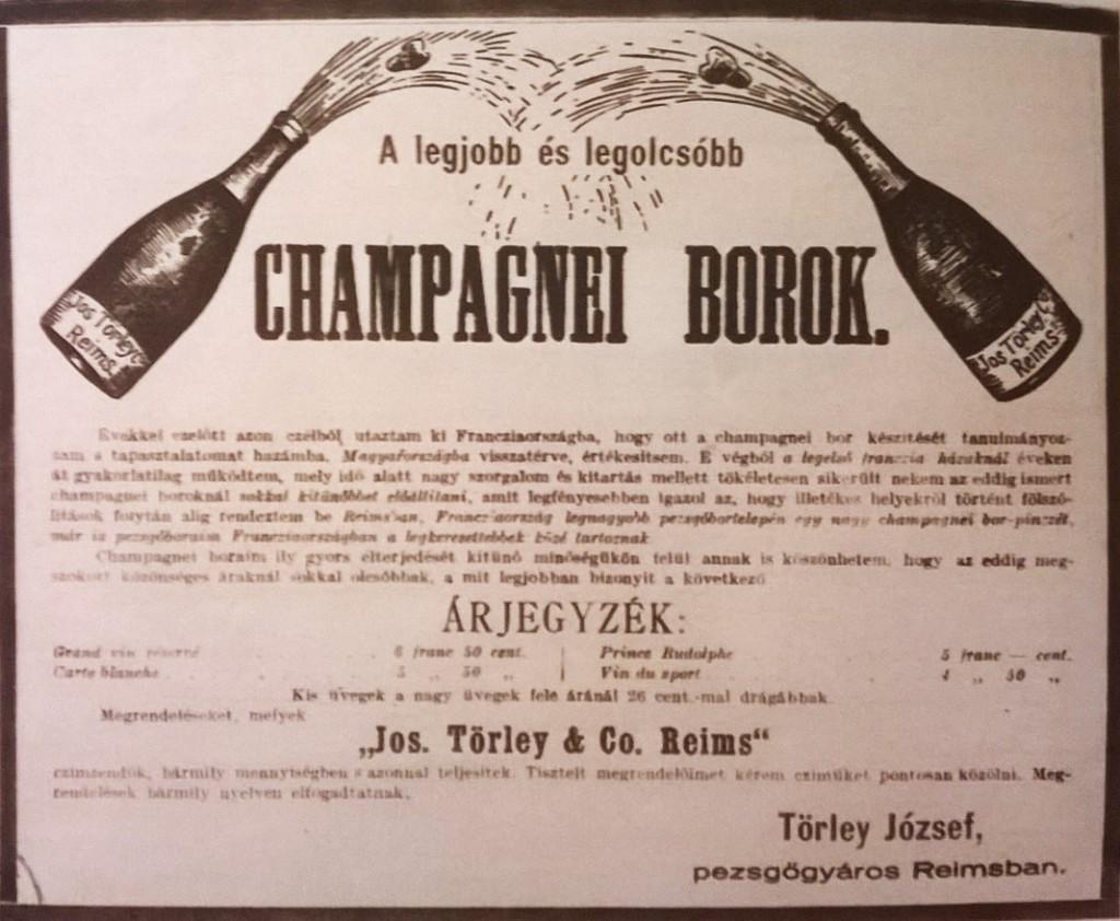 """Törley első hirdetése 1879-ből: """"A legjobb és legolcsóbb champagnei borok."""" (Forrás: Nagyváthy)"""