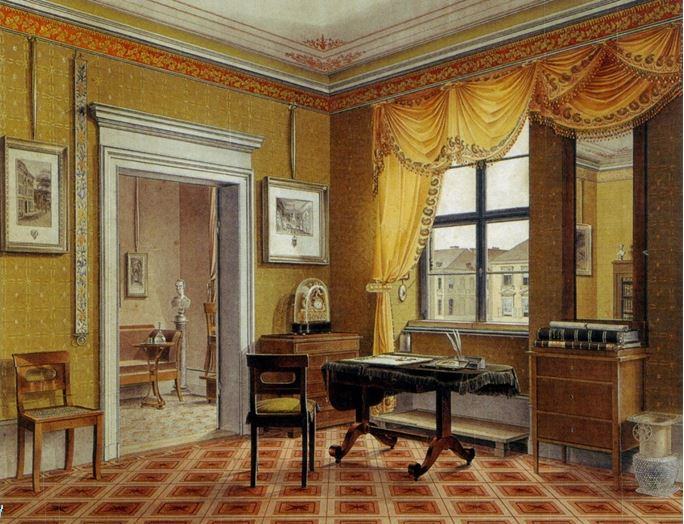 Biedermeier enteriőr – Leopold Zielcke: Zimmerbild, cca. 1825. Festmény, Royal Collection, Egyesült Királyság.