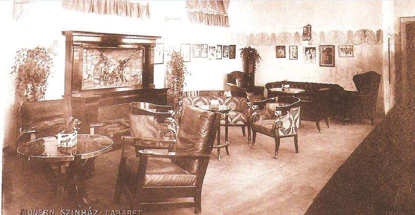 Modern Színház Cabaret, társalgó, 1907 körül (Bános Tibor: A pesti kabaré 100 éve).