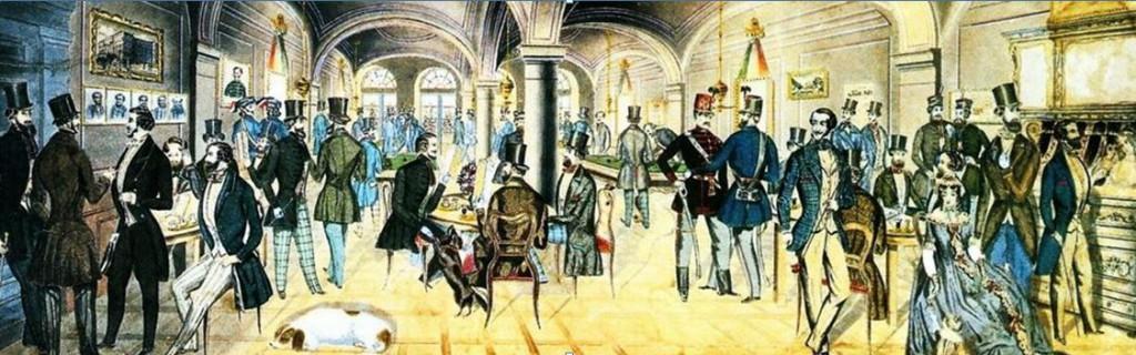 Pilvax Kávéház, 1848. Preiszler József színezett tollrajza.