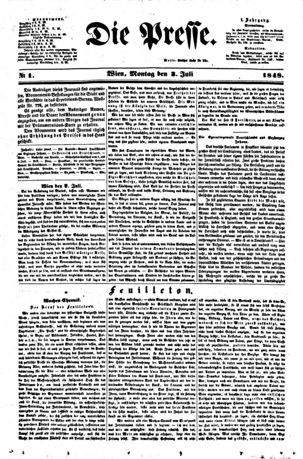 A Die Presse első, 1848. július 3-án megjelent számának címlapja, melynek tárcája Hieronymus Lorm Der Beruf des Feuilletons című fontos programcikkét közölte