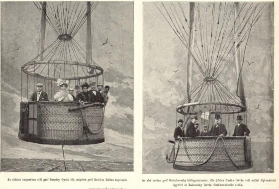 Godard kapitány ballon captifjának utasai a millenniumi ünnepségeken