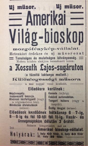 A Szegedi Híradó, 1907. június 16-i és 23-i hirdetése