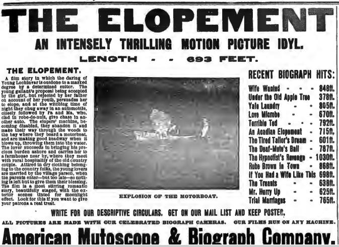 The New York Clipper 1907. december 14-i számában megjelent hirdetés