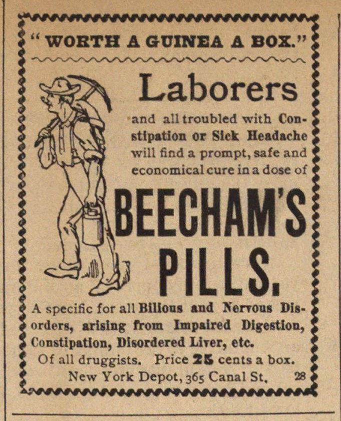 A Beecham's pills tabbletták reklámja. <br /> <em>Worth A Guinea A Box. <br>Egy doboz megér egy guinea-t?</em> 1892.