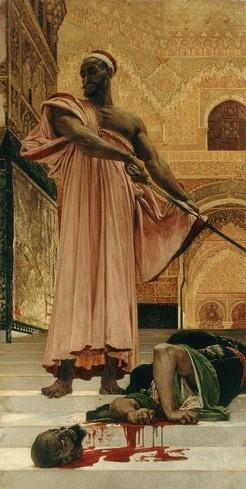 Henri Regnault: Exécution sans jugement sous les rois maures de Grenade, 1870. Olaj, vászon, 300 x 146 cm. Musée d'Orsay.