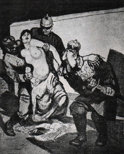 Szerbia megerőszakolása. Első világháborús propagandaplakát (Forrás: Hirschfeld – Gaspar 1930).