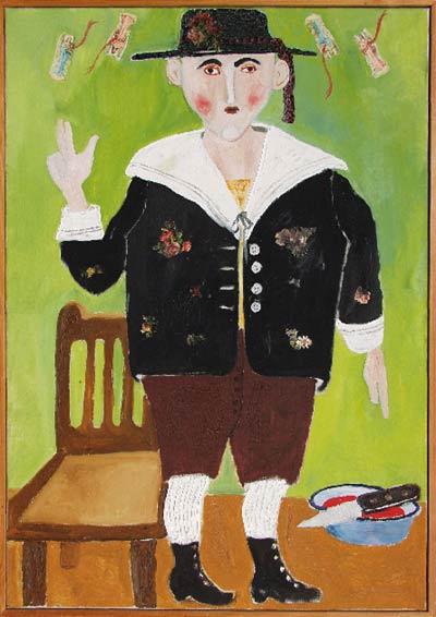 Scharf Móric, 1973 (Olaj, vászon, préseltkép rátét, 100 x 70 cm. Ferenczy Múzeum, Szentendre, Ltsz.: 84.84)