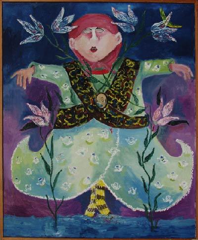 Solymosi Eszter, 1976 (Olaj, vászon, préseltkép rátét, 100 x 82 cm. Ferenczy Múzeum, Szentendre, Ltsz.: 84.129)