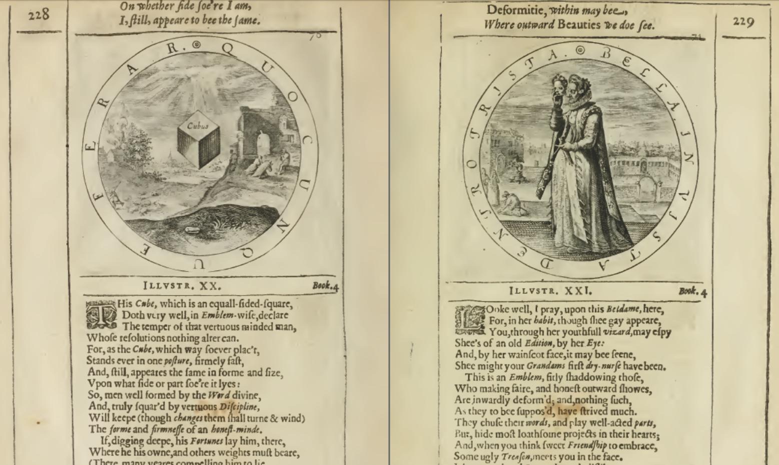 2. ábra: George Whiter A Collection of Emblems, Ancient and Moderne (1635) című emblémás könyvében is egymás ellentétjeként, egymással szemben állított erényként szerepel az állhatatosság (a minden oldaláról ugyanazt mutató kocka) és a csalfa látszat (fiatal nő maszkja alá rejtőző banya).