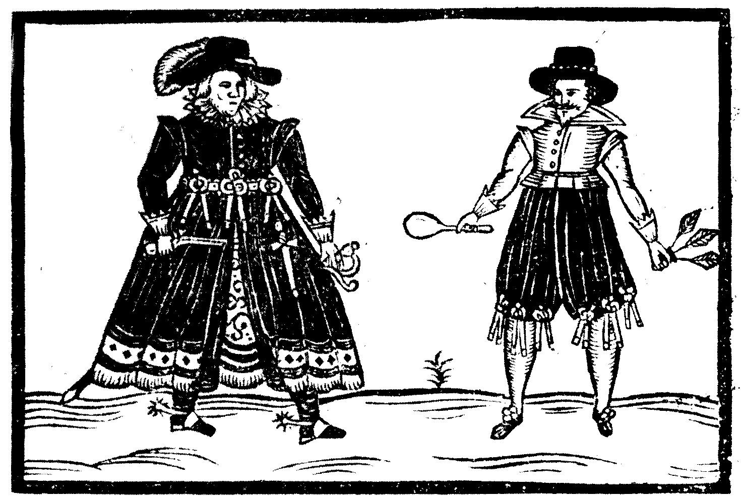 Hic-Mulier és Haec-Vir találkozása a Haec-Vir című röpirat címlapján, 1620