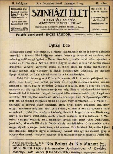 [2. kép: A Színházi Élet 1913. december 14-i számának borítója, amelyen elsőként tüntetik fel Korda Sándort társszerkesztőként]
