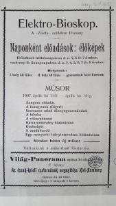 A pozsonyi Elektro-Bioskop heti műsorprogramjai (1905, 1907). Forrás: OSZK Kisnyomtatványtár.