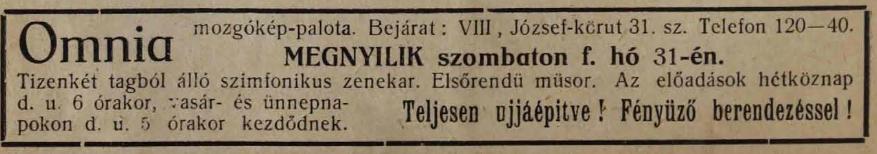 Omnia mozgókép-palota hirdetése. Forrás: <em>Színházi Hét</em>, 1912/28.