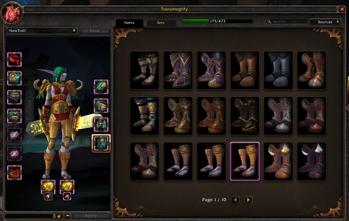 Az öltözet és fegyverzet küllemének megváltoztatását szolgáló felület. A képen látható, hogy különböző cipőkből az adatközlőmnek százhetvenöt darab volt a birtokában.