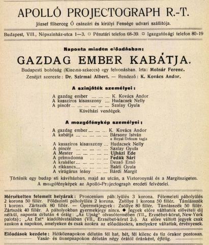 <em>Gazdag ember kabátja</em> (1912), korabeli hirdetés.
