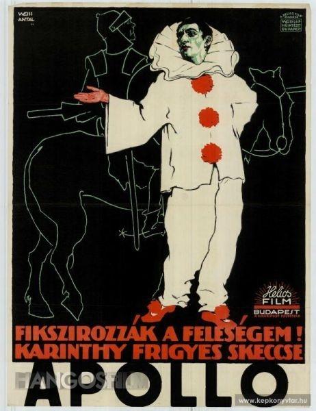 Weiss Antal plakátja, mely Don Quijote páncélos alakjára a szomorú bohóc Pierrot-t kopírozza. Forrás: hangosfilm.hu