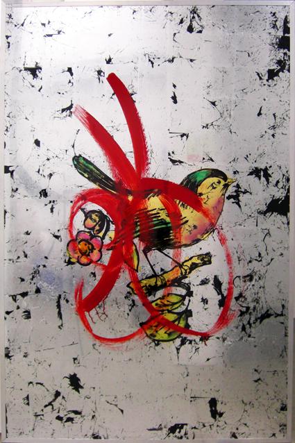 Daniel Baker: <em>Red Bird Looking Glass Panel</em>, 2009.