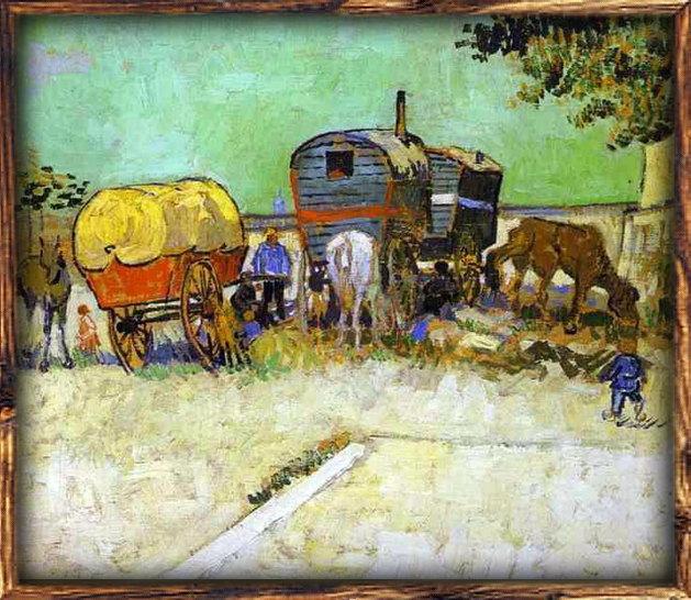 Van Gogh: <em>Les Roulottes, campement de bohémiens aux environs d'Arles</em>, 1888. Olaj, vászon. Louvre.