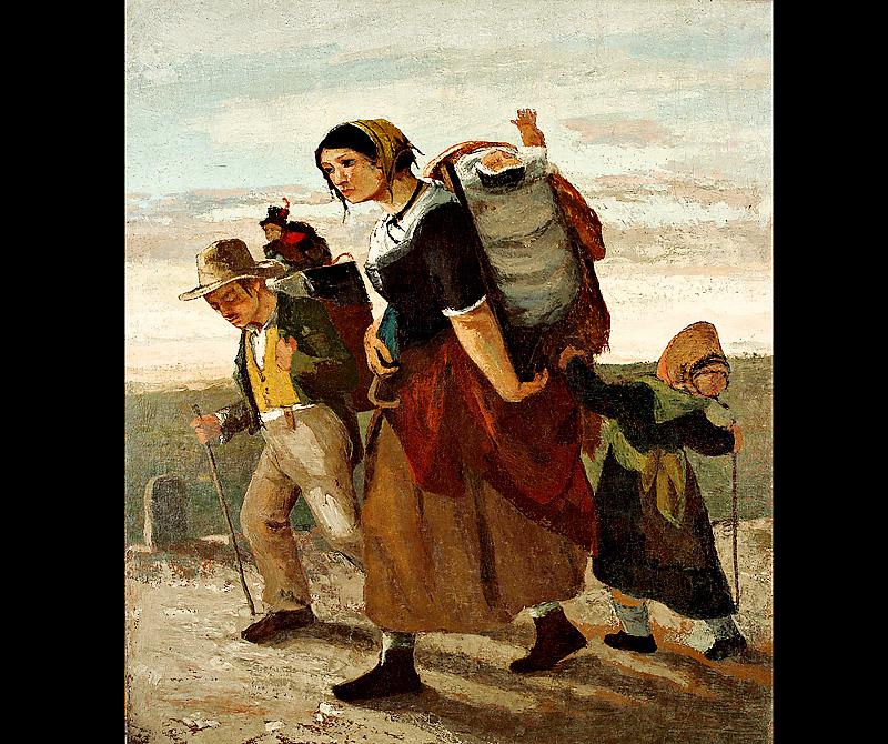 Courbet: <em>La Bohémienne et ses enfants</em>, 1853-54. Olaj, vászon. Magángyűjtemény.