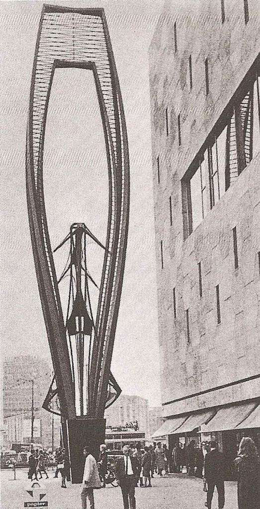 Naum Gabo: <em>Cím nélkül</em>, 1957. Rotterdam, Bijenkord Épület előtt.