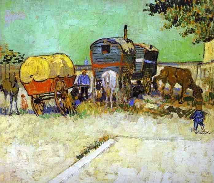 Vincent van Gogh: Karavánok – Cigánytábor Arles közelében (1888)