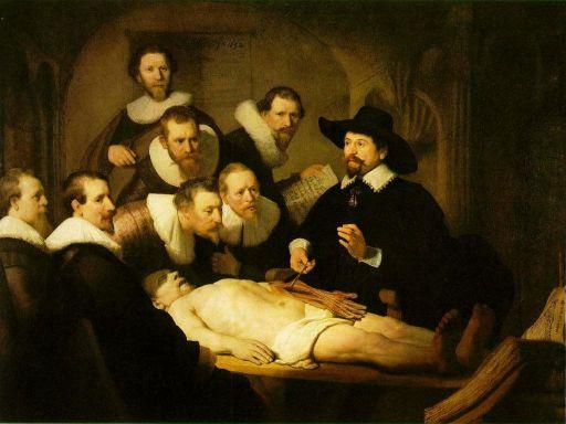 Rembrandt: <em>Tulp doktor anatómiai előadása</em>, 1632. Olajfesték vásznon, 216.5 cm × 169.5 cm. Hága, Mauritshuis.