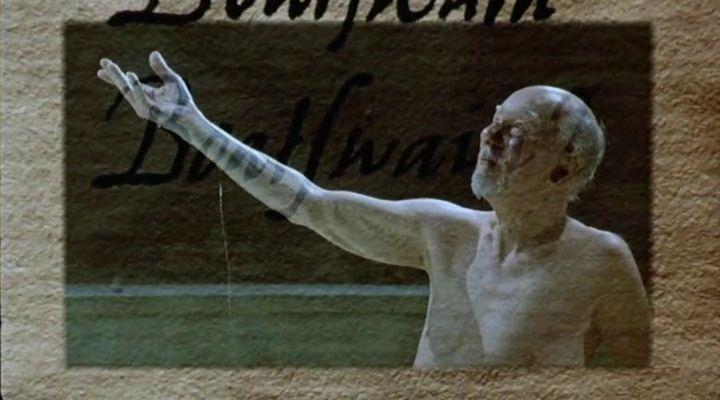 Prospero beszédjét követi tolla. <em>Prospero könyvei</em> (<em>Prospero's Books</em>. Peter Greenaway, 1991)
