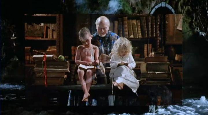 Prospero, Miranda és Kalibán olvasnak. <em>Prospero könyvei</em> (<em>Prospero's Books</em>. Peter Greenaway, 1991)