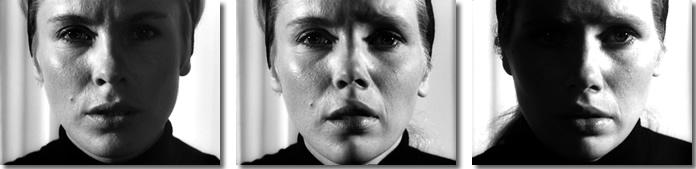 """Az összeolvadás mozzanatai a Personából (Ingmar Bergman, 1966): a két szélen Alma és Elizabeth, középen szintén, de már """"egyben""""."""