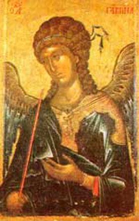 Gábriel arkangyal egyik legelterjedtebb, bizánci ikonokon látható ábrázolási módja