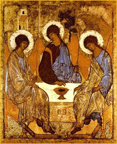 Andrej Rubljov Ószövetségi Szentháromság című ikonja. Az ikon vezérmotívuma, a kör, megfigyelhető a három alak test- és fejtartásában, valamint a kép jobb felső részén látható hegy és a fa körvonalaiban
