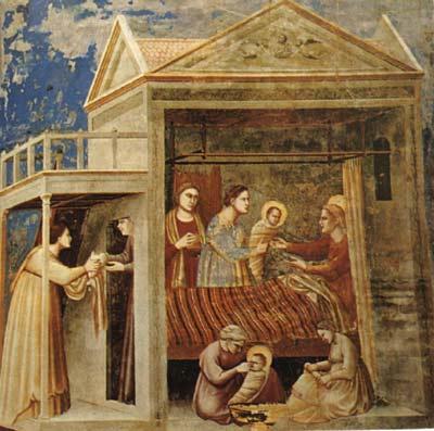 A fordított perspektíva jelenléte még Giotto XIV. században készült képén is szembetűnő. <em>Natività di Maria</em>, 1303-1305. Padova, Cappella degli Scrovegni.