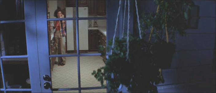 6. kép - Leselkedés, nő, testet daraboló keretek/ 1 - <em>Halloween - A rémület éjszakája</em> (Halloween. John Carpenter, 1978)