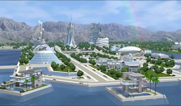 Oasis Landing virtuális városa.