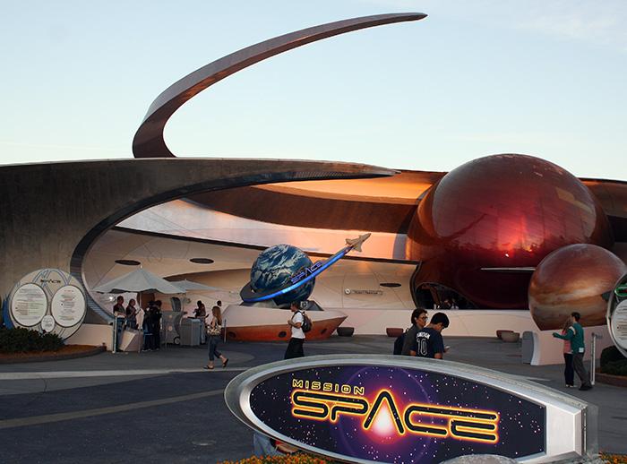 A Mission: SPACE attrakció bejárata.